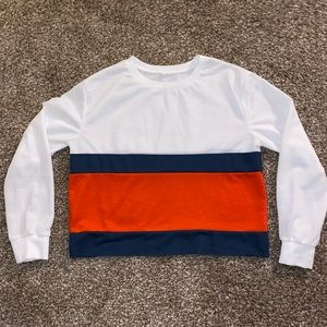 ⭐️ Color Block Long Sleeve Crop Top